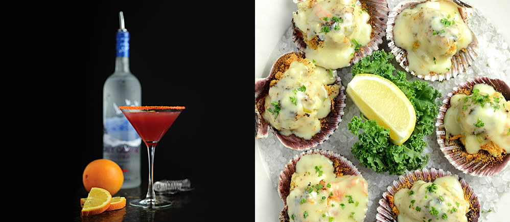 Handcrafted Cocktails, Baked Scallops